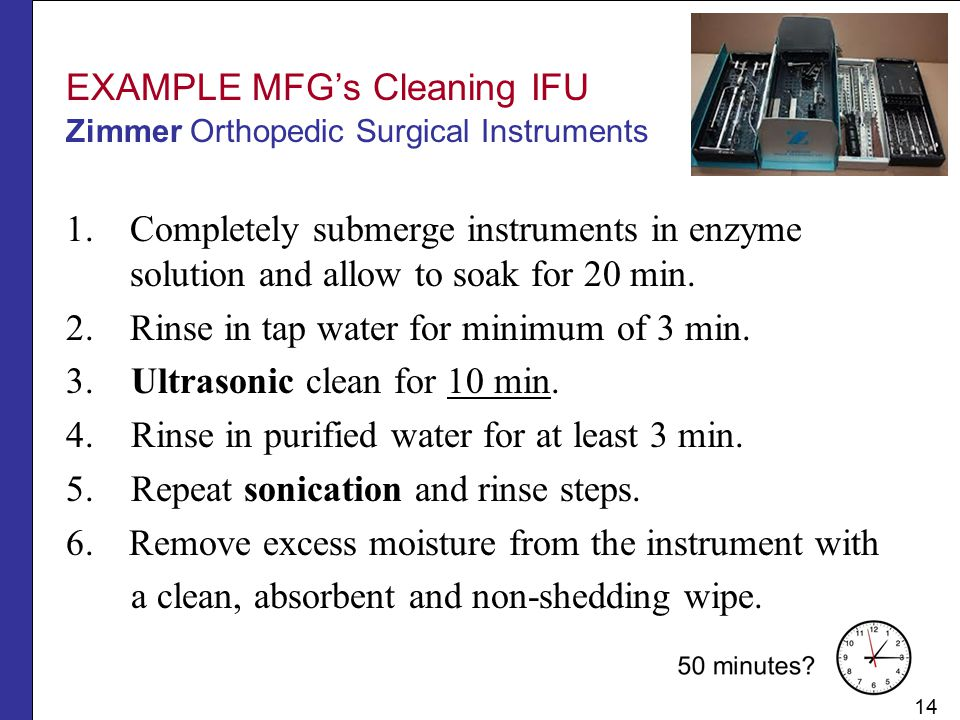 EXAMPLE MFG's Cleaning IFU Zimmer Orthopedic Surgical Instruments