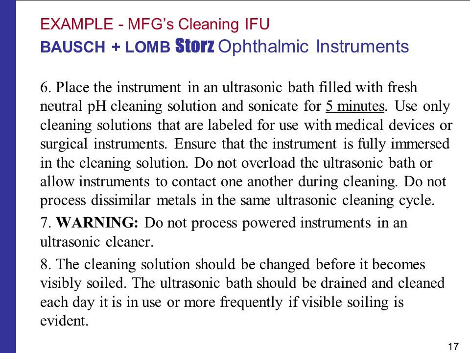 EXAMPLE - MFG's Cleaning IFU BAUSCH + LOMB Storz Ophthalmic Instruments