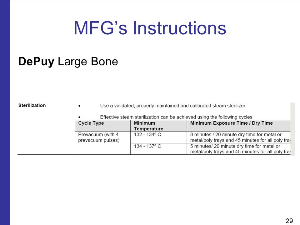 MFG's Instructions DePuy Large Bone 29 29