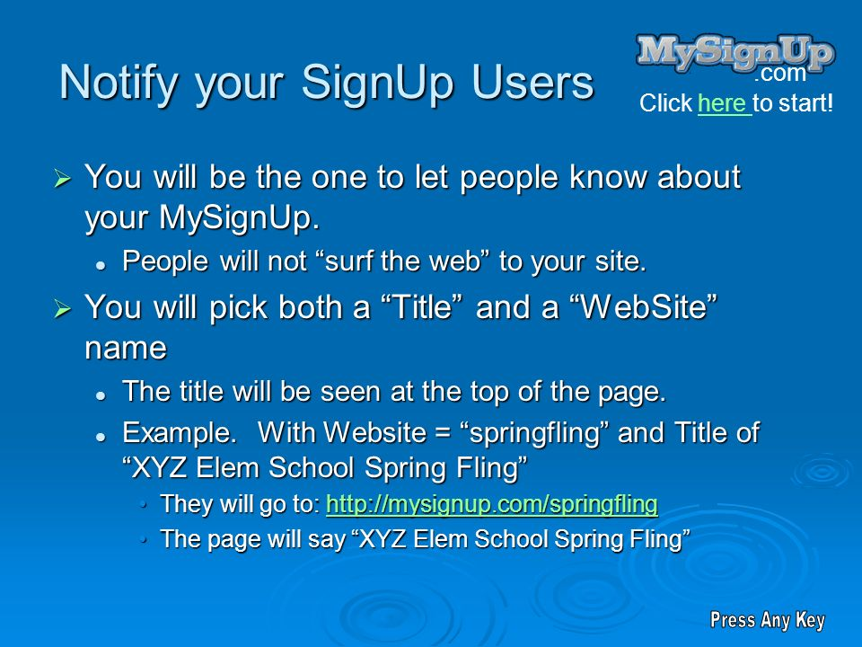 Notify your SignUp Users