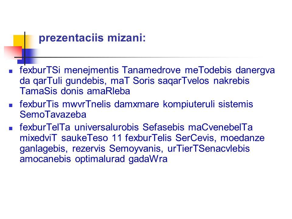 prezentaciis mizani: fexburTSi menejmentis Tanamedrove meTodebis danergva da qarTuli gundebis, maT Soris saqarTvelos nakrebis TamaSis donis amaRleba.