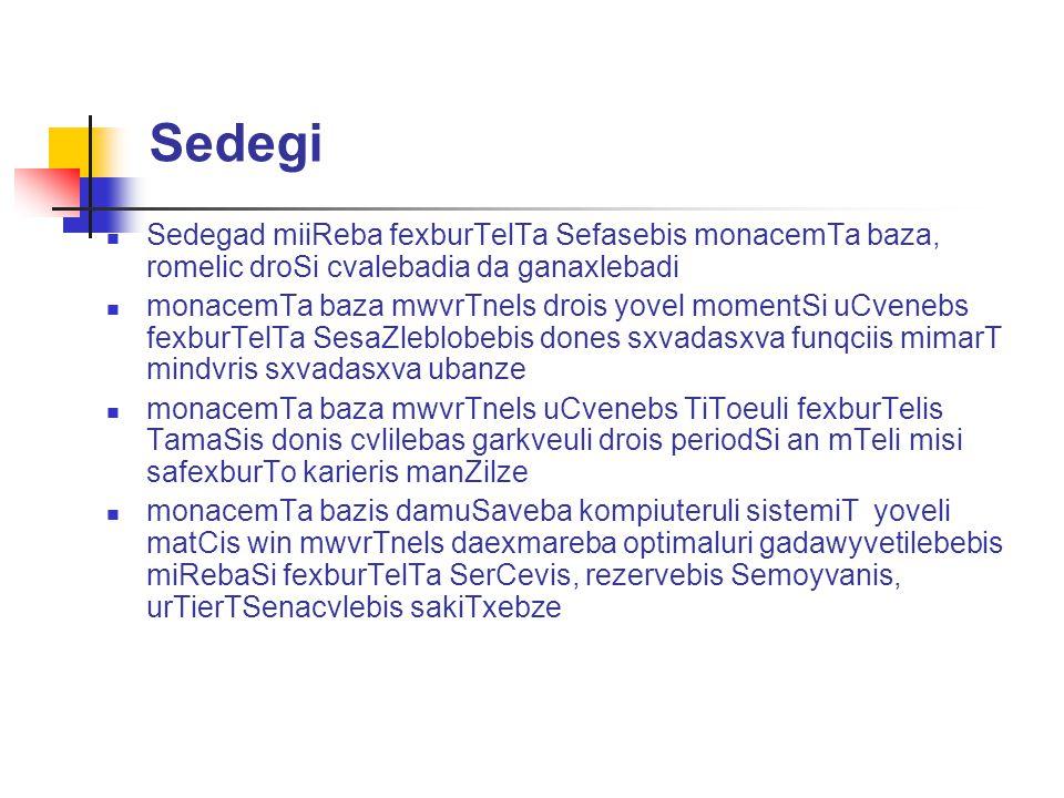 Sedegi Sedegad miiReba fexburTelTa Sefasebis monacemTa baza, romelic droSi cvalebadia da ganaxlebadi.