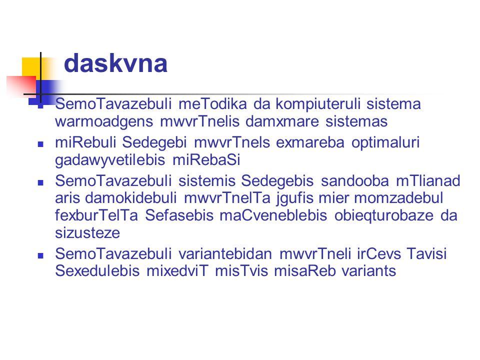daskvna SemoTavazebuli meTodika da kompiuteruli sistema warmoadgens mwvrTnelis damxmare sistemas.