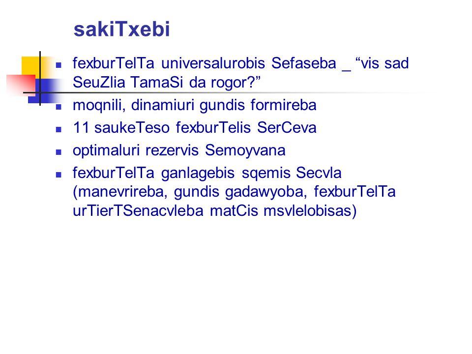 sakiTxebi fexburTelTa universalurobis Sefaseba _ vis sad SeuZlia TamaSi da rogor moqnili, dinamiuri gundis formireba.