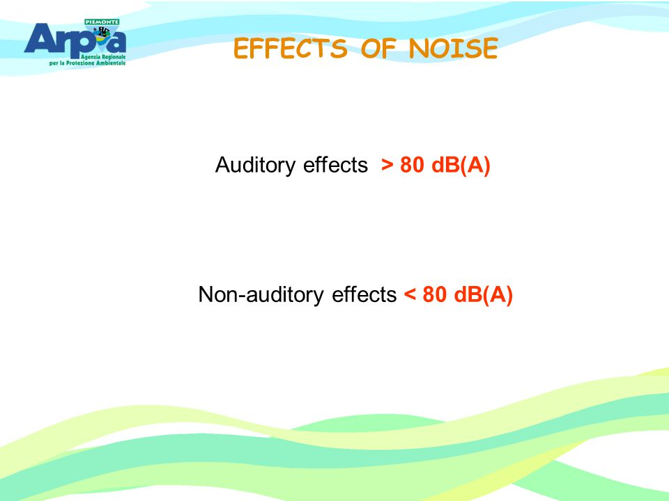 EFFECTS OF NOISE Auditory effects > 80 dB(A)