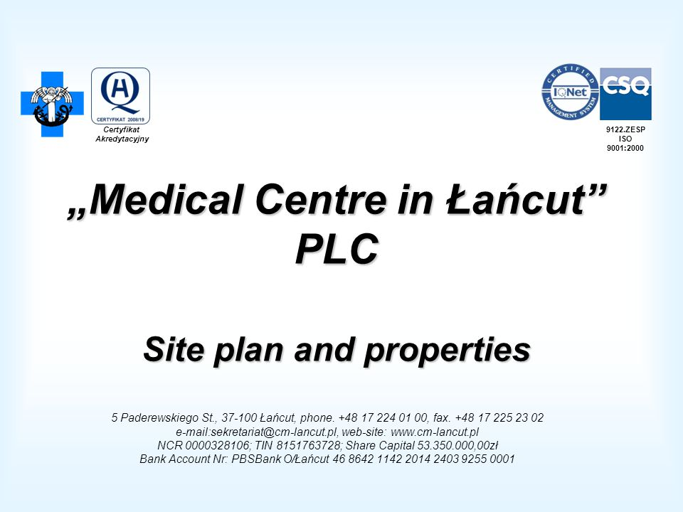 """Medical Centre in Łańcut PLC Site plan and properties"