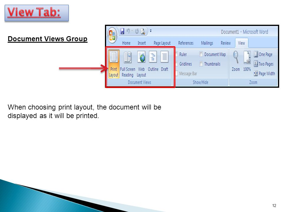 View Tab: Document Views Group