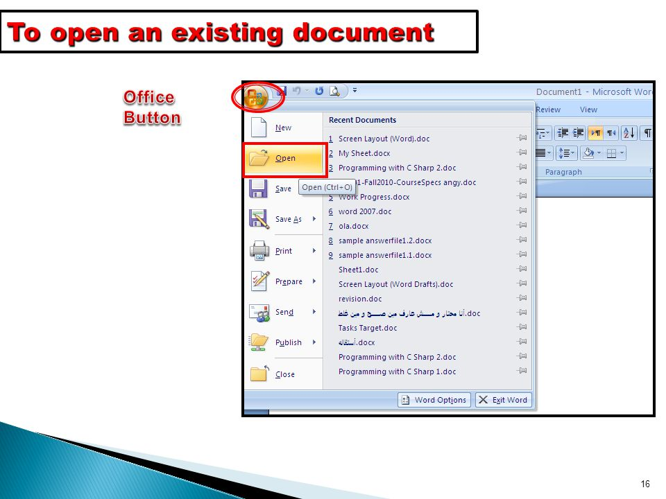 To open an existing document
