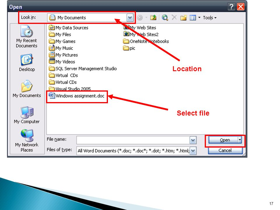 Location Select file