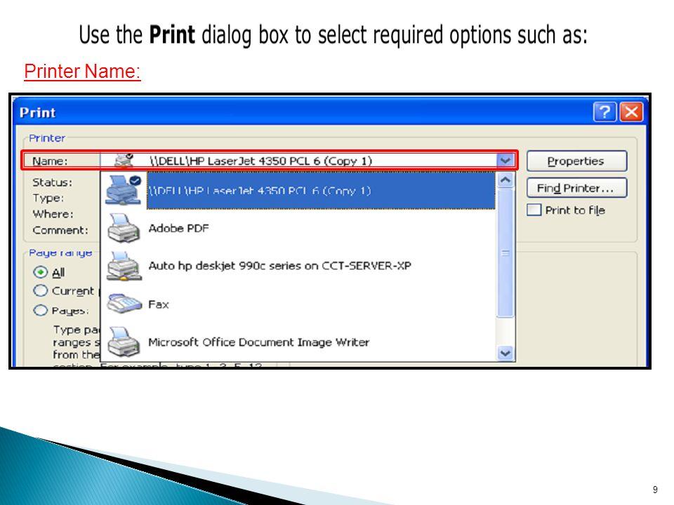 Printer Name:
