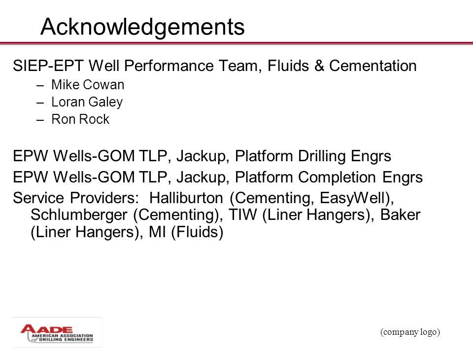 Acknowledgements SIEP-EPT Well Performance Team, Fluids & Cementation