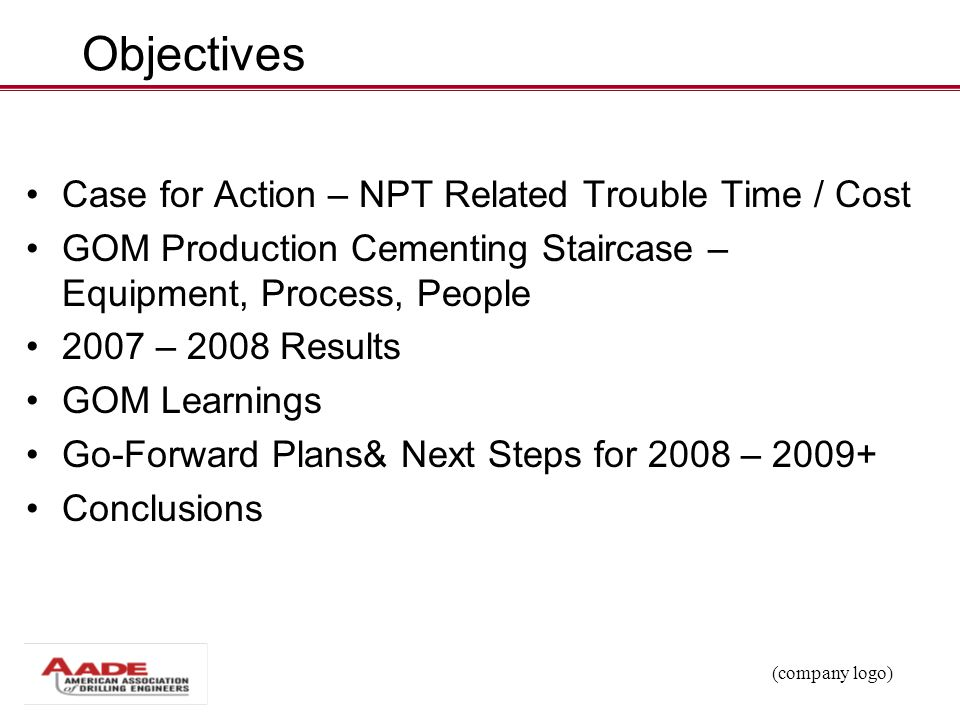 Objectives Case for Action – NPT Related Trouble Time / Cost