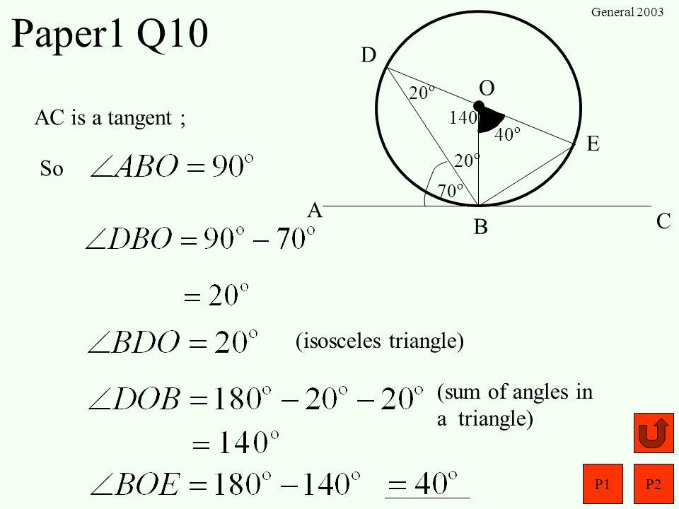 Paper1 Q10 D O AC is a tangent ; E So A C B (isosceles triangle)