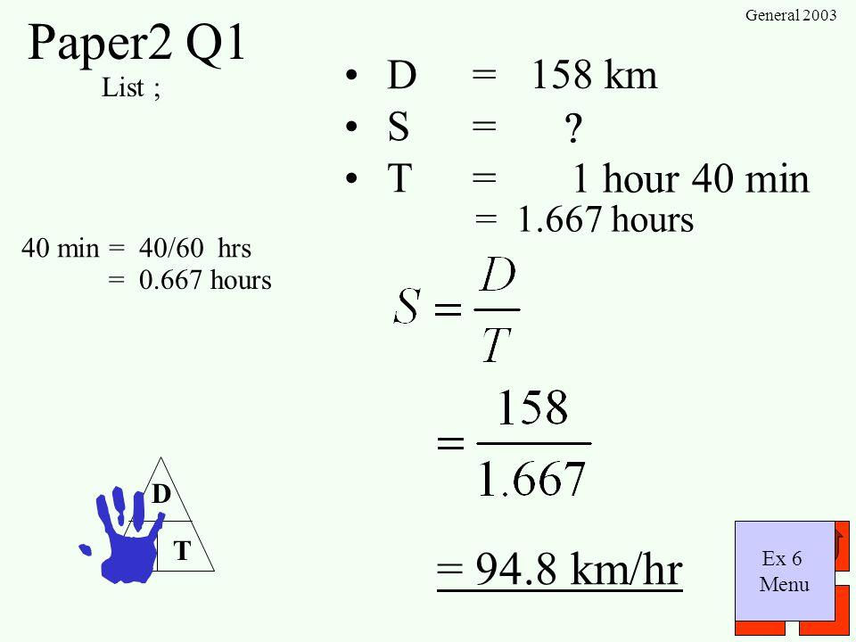Paper2 Q1 = 94.8 km/hr D = S = T = 158 km 1 hour 40 min