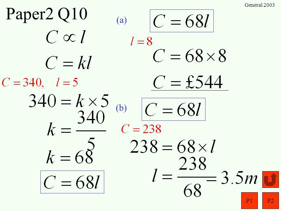 Paper2 Q10 General 2003 (a) (b)