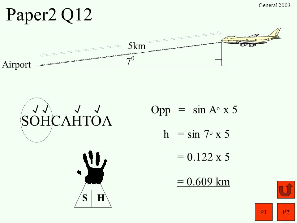 Paper2 Q12 SOHCAHTOA Opp = sin Ao x 5 h = sin 7o x 5 = 0.122 x 5