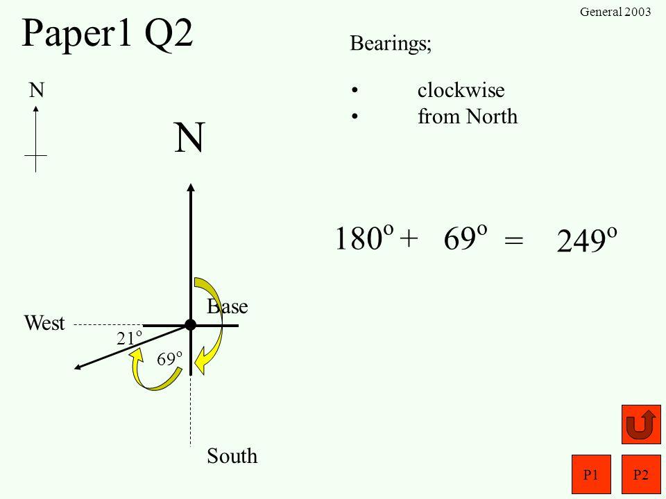 N Paper1 Q2 180o + 69o = 249o Bearings; N clockwise from North Base