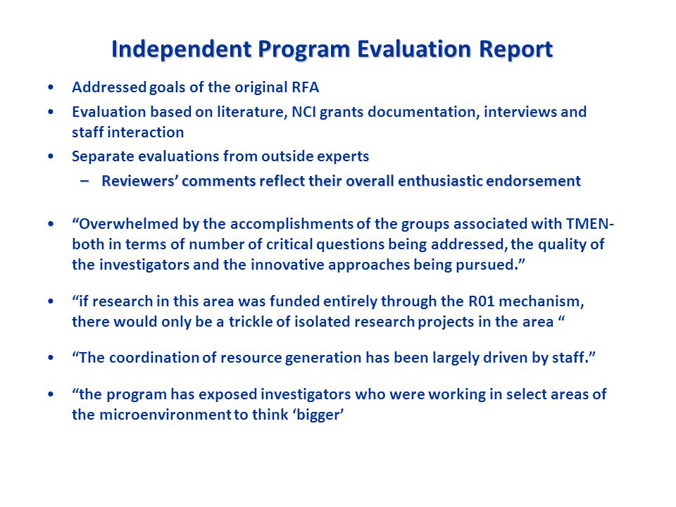 Independent Program Evaluation Report