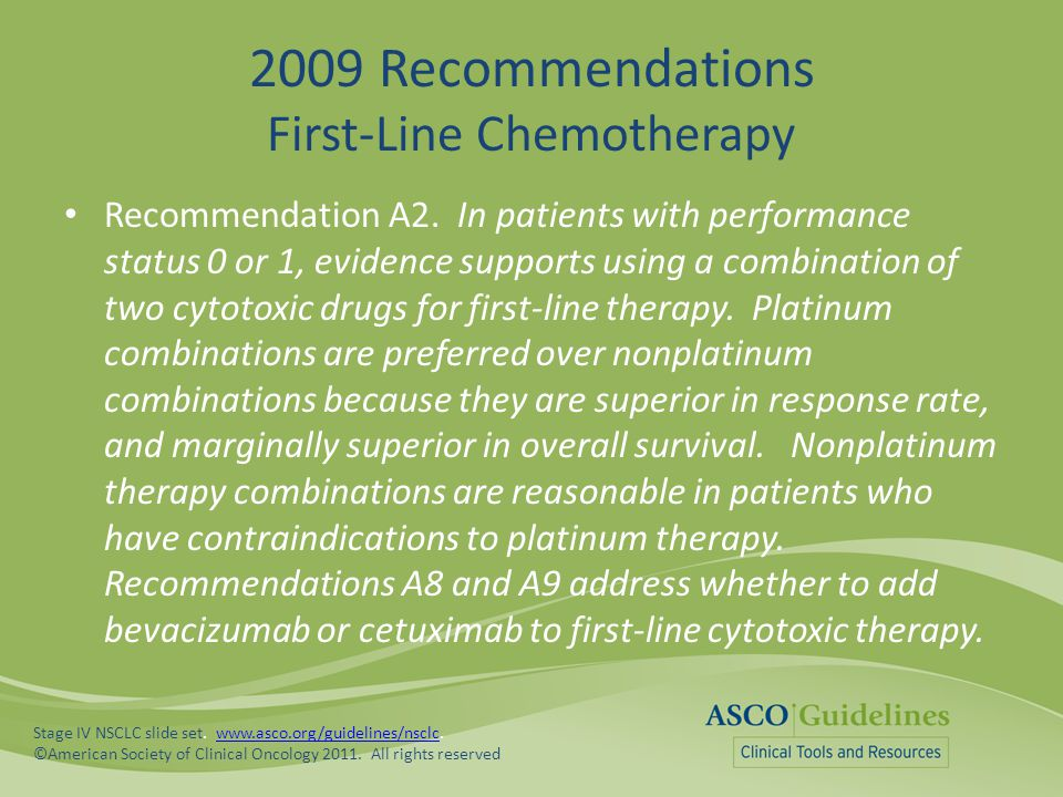 2009 Recommendations First-Line Chemotherapy