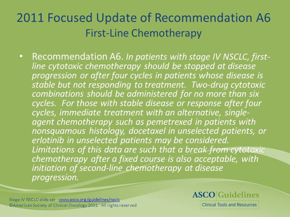 2011 Focused Update of Recommendation A6 First-Line Chemotherapy