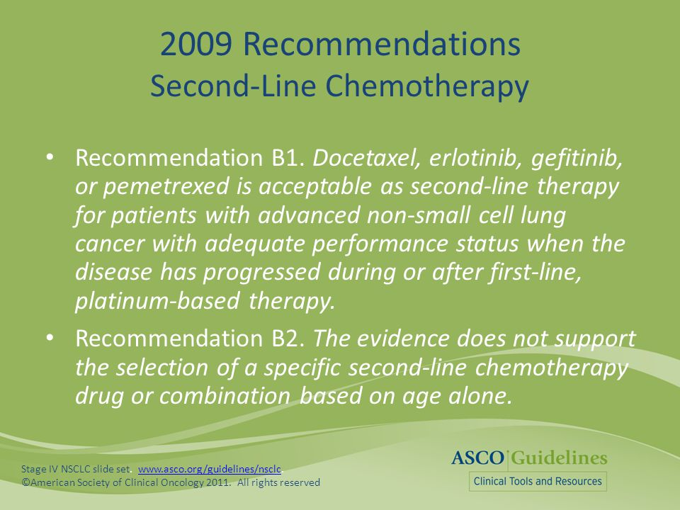 2009 Recommendations Second-Line Chemotherapy
