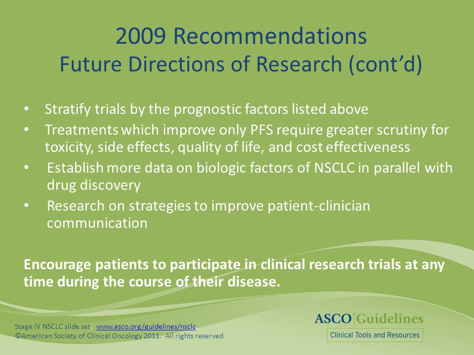 2009 Recommendations Future Directions of Research (cont'd)