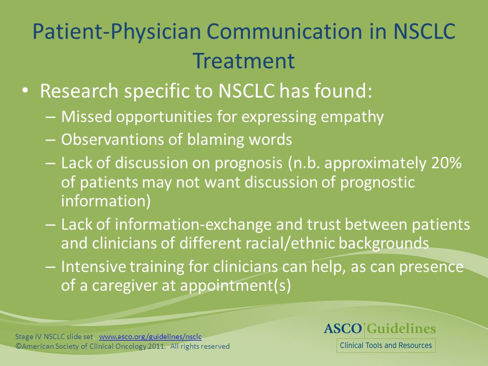 Patient-Physician Communication in NSCLC Treatment