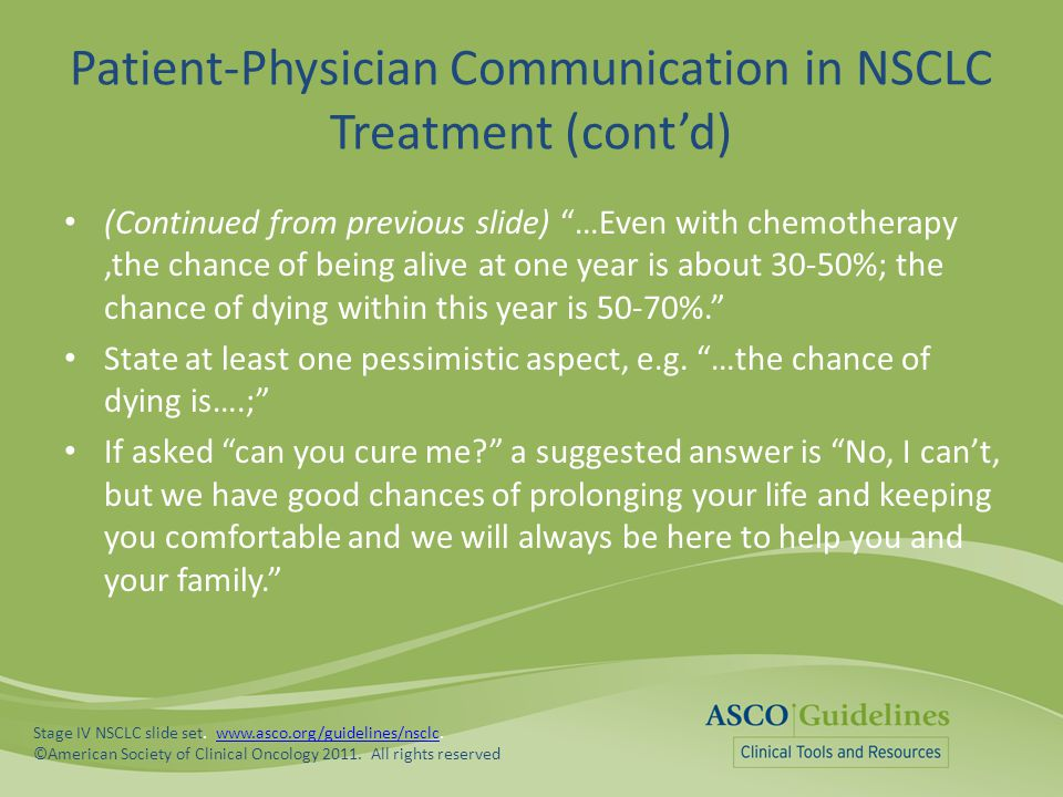 Patient-Physician Communication in NSCLC Treatment (cont'd)