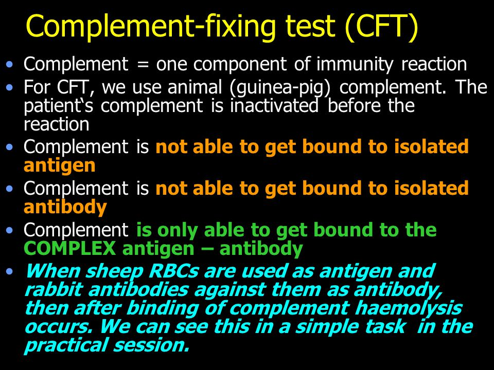 Complement-fixing test (CFT)
