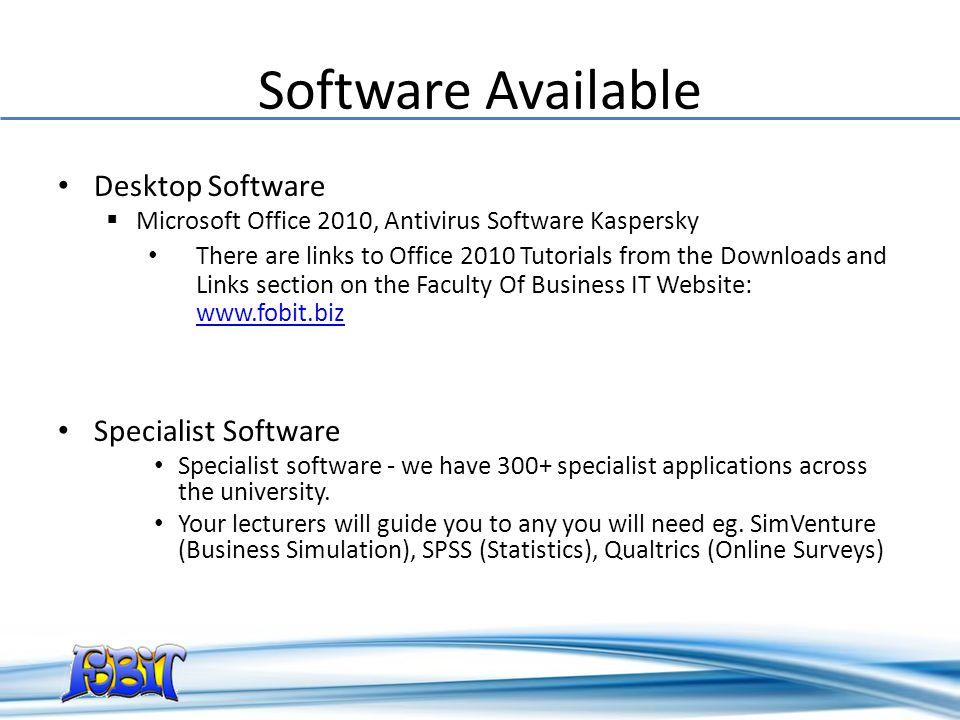 Software Available Desktop Software Specialist Software