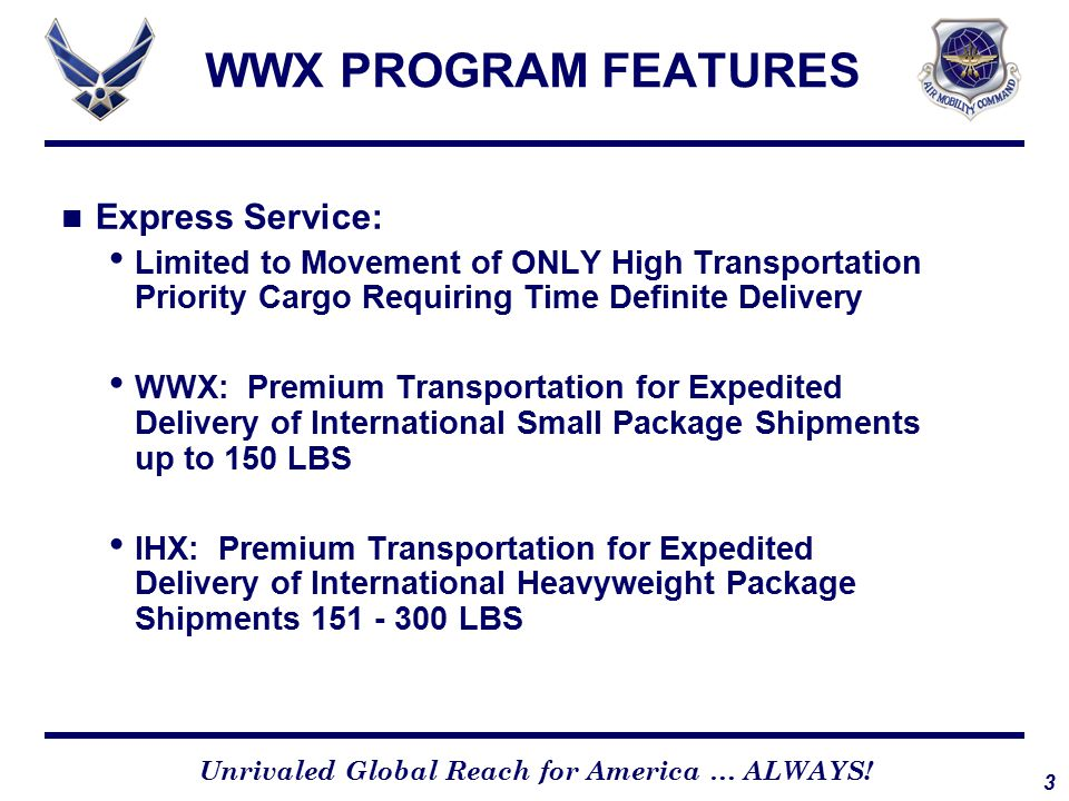WWX PROGRAM SERVICES Services Includes: