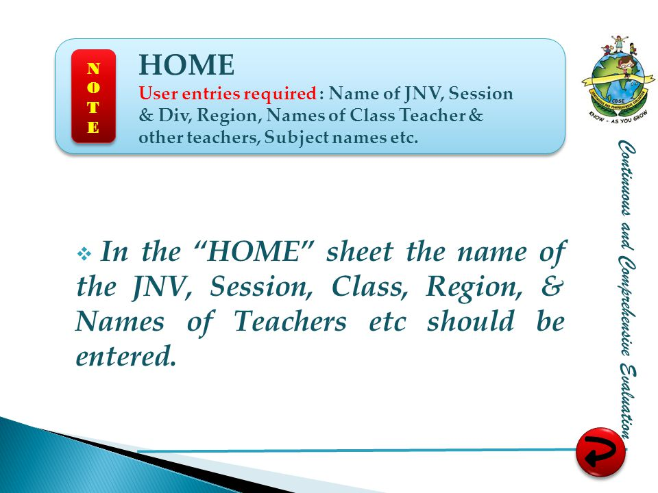 HOME User entries required : Name of JNV, Session & Div, Region, Names of Class Teacher & other teachers, Subject names etc.
