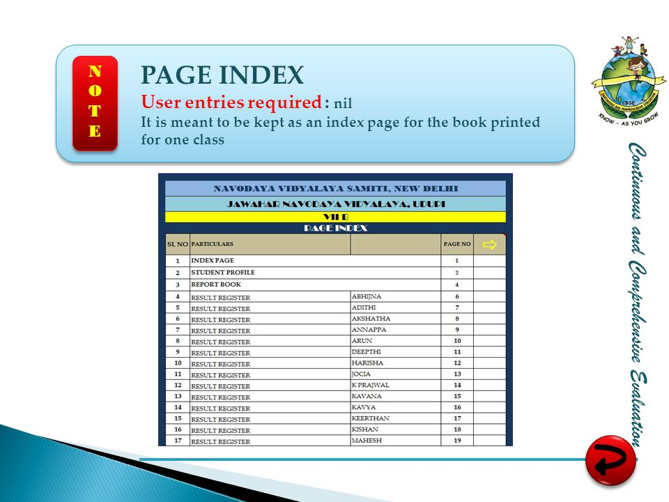 PAGE INDEX Continuous and Comprehensive Evaluation