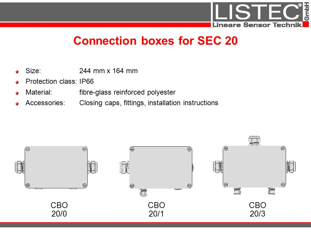 Connection boxes for SEC 20