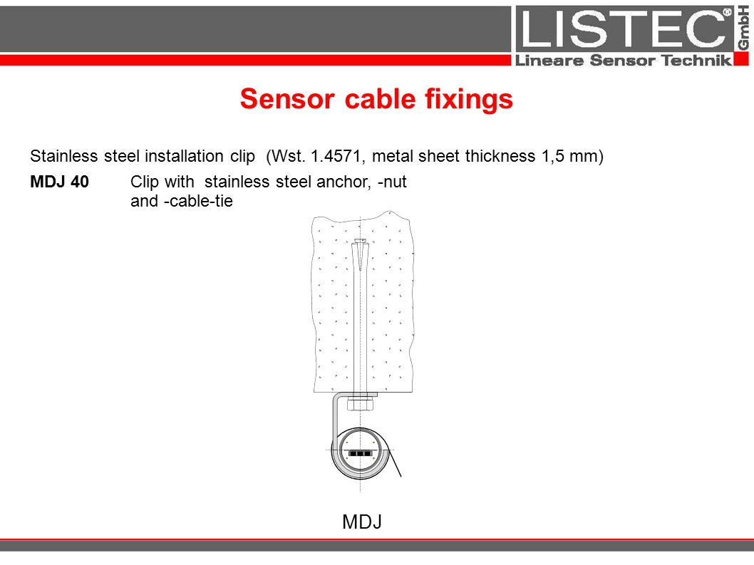 Sensor cable fixings MDJ