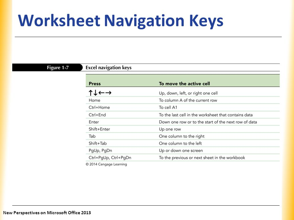 Worksheet Navigation Keys
