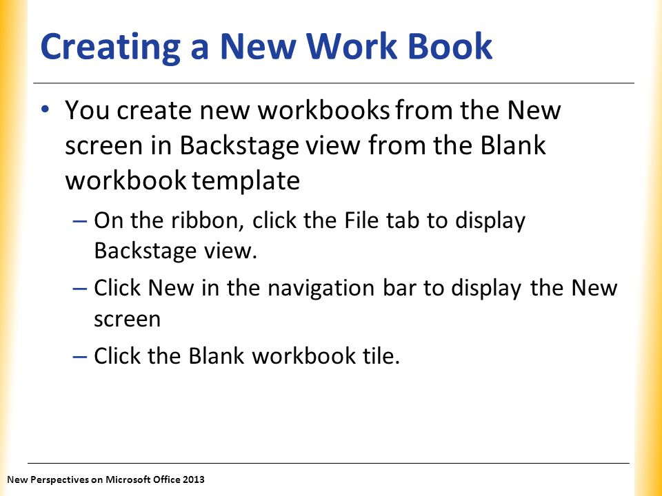 Creating a New Work Book