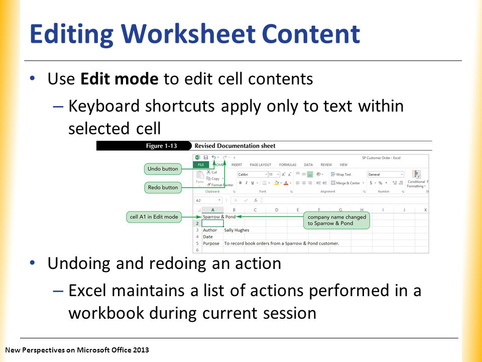 Editing Worksheet Content