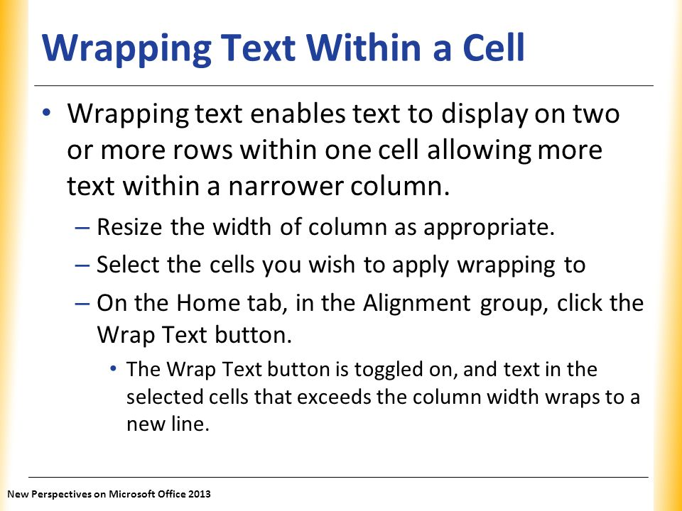 Wrapping Text Within a Cell
