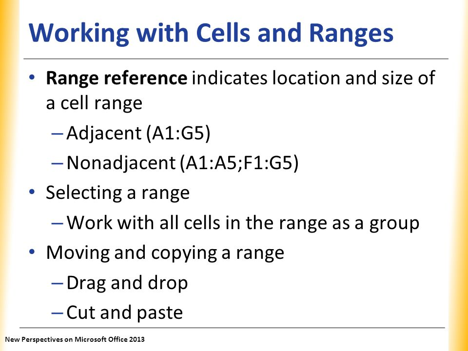 Working with Cells and Ranges