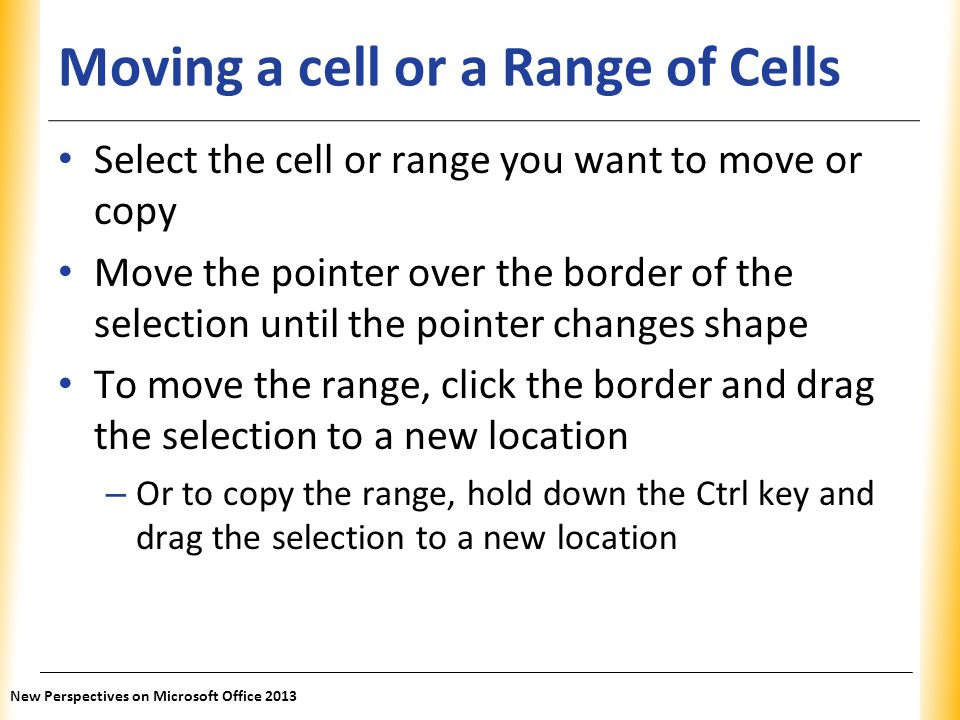 Moving a cell or a Range of Cells