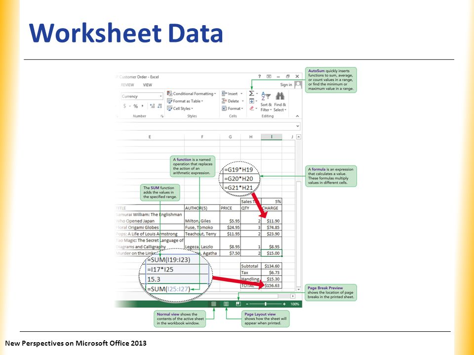 Worksheet Data New Perspectives on Microsoft Office 2013