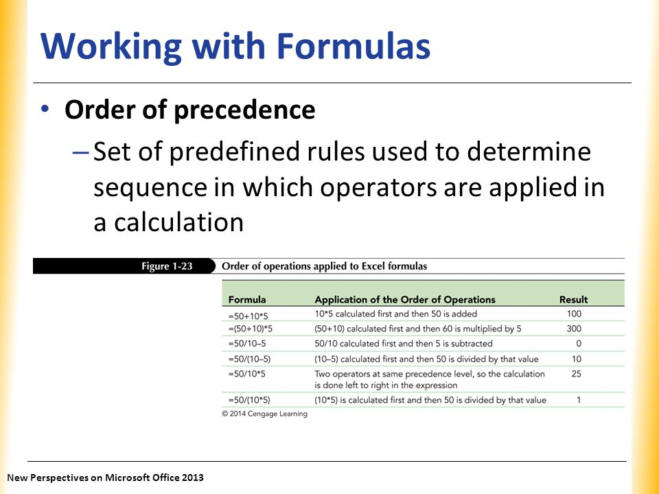 Working with Formulas Order of precedence