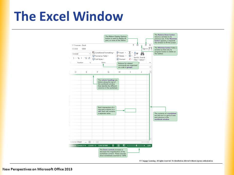 The Excel Window New Perspectives on Microsoft Office 2013