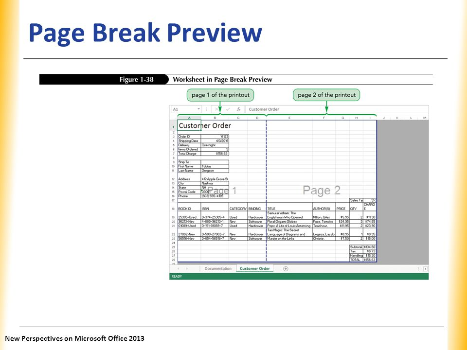 Page Break Preview New Perspectives on Microsoft Office 2013