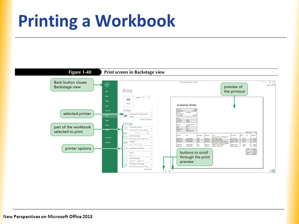 Printing a Workbook New Perspectives on Microsoft Office 2013