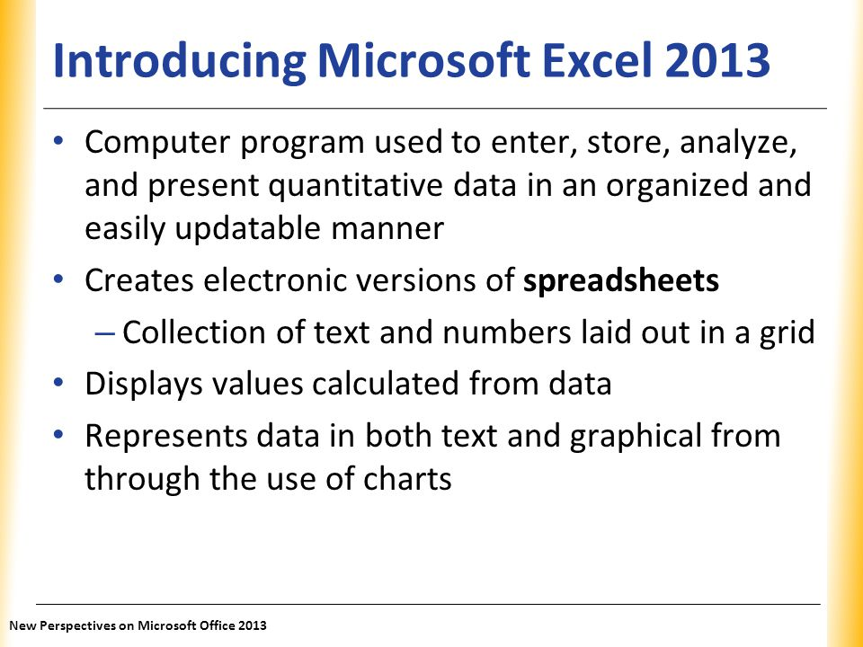 Introducing Microsoft Excel 2013