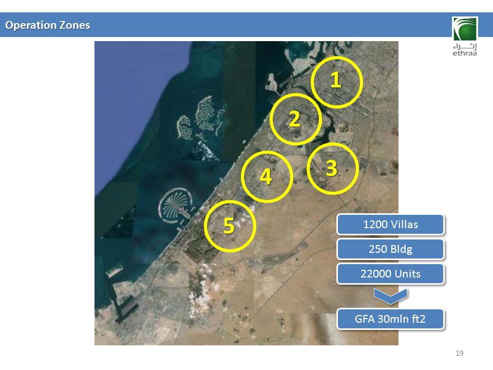 1 2 3 4 5 Operation Zones 1200 Villas 250 Bldg 22000 Units