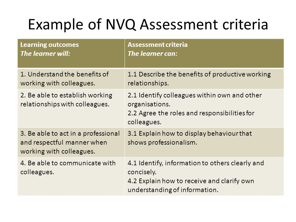 Example of NVQ Assessment criteria