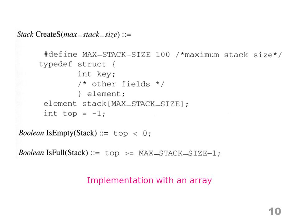 Implementation with an array